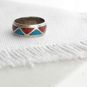 VINTAGE Coral & Turquoise Geometric Sterling Ring